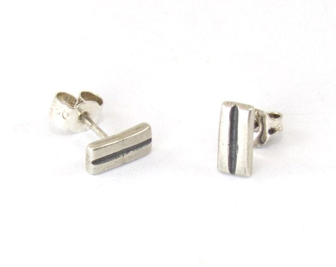 Rectangle Unisex Stud Earrings