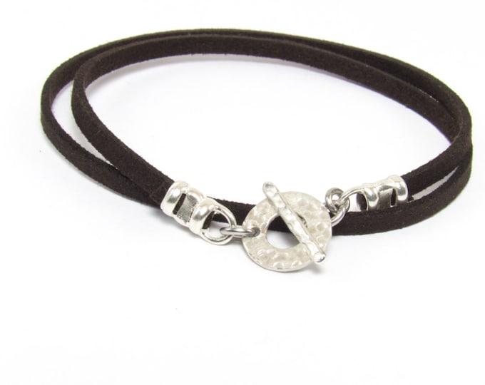 Mens Trendy Double Wrap Suede Bracelet, Mens Friendship Bracelet, Stacking Bracelet.