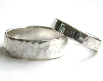 His and Hers Hammered Silver Wedding Rings, Hand Made Wedding Bands, Rustic wedding Rings, Hand Forged Wedding Rings.