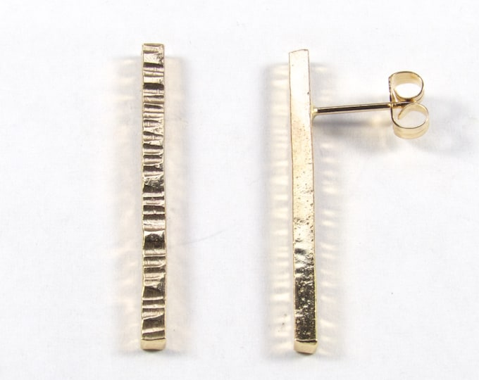 Hand forged long square rod stud earrings