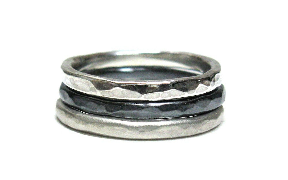 6977be1519925 Hammered Silver Stacking Rings.