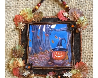 Halloween Jack o lantern print painting collage frame decoration rustic primitive Autumn leaves Fall pumpkin wall hanging assemblage decor