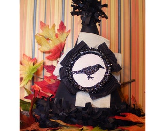 Black crow raven silhouette party hat Halloween decoration old fashioned retro vintage style Autumn home decor