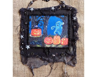 Halloween decoration print of original painting collage framed wall hanging spooky primitive art grungy Jack o lantern pumpkins ghost cat