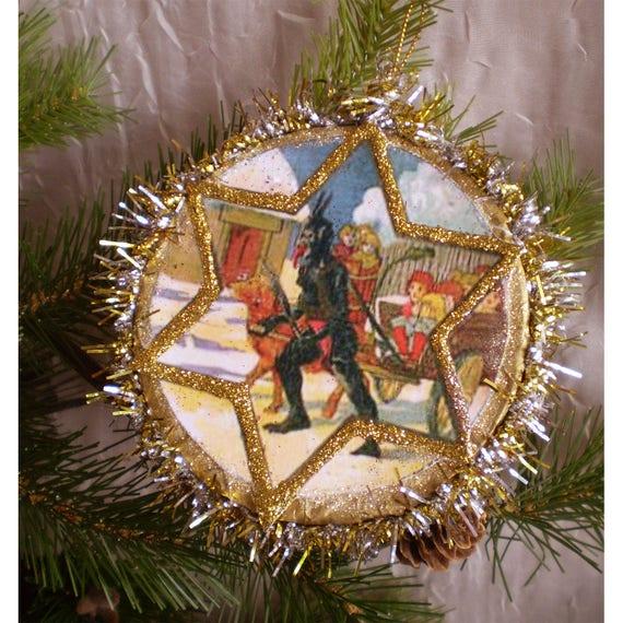 Old Fashioned Christmas Tree Decorations.Krampus Christmas Tree Decoration Old Fashioned Holiday Devil Ornament Vintage Style Decoupage Yule Winter Decor Creepmas