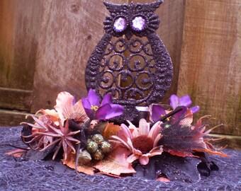 Halloween Owl nest decoration candle holder Autumn floral centerpiece fall flower arrangement Thanksgiving Samhain home decor spooky goth