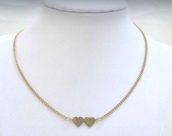 Heart Necklace, Gold Heart Necklace, Vintage Heart Necklace, Double Heart Necklace, Heart Choker Necklace, Gold Chain Necklace, Choker