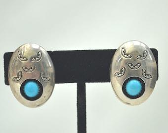 Southwest design Sterling indianerschmuck boho jewellery clip on earrings Large bearpaw navaho ear clips bohemian silver turquoise