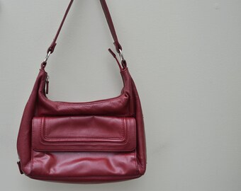 Burgundy Red Leather Bag, Wilsons Purse, Leather Purse, Vintage Leather Bag, 1970s Purse, Designer Purse, Shoulder Bag, 1970's Bag