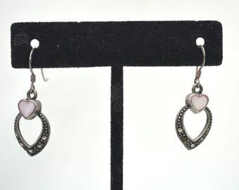 Vintage Large Oval Black Onyx Marcasite French Back Earrings Sterling Silver ER 161