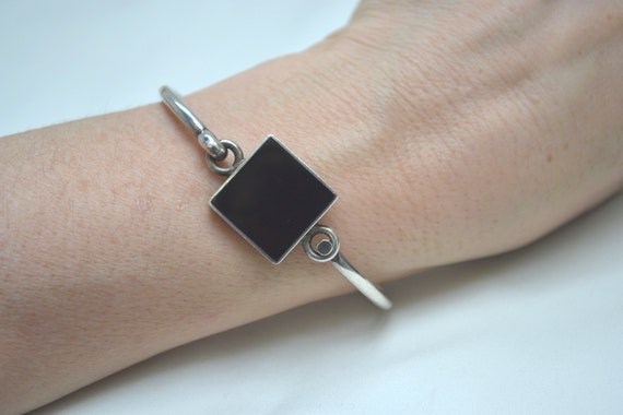 Bamboo Design Bangle Bracelet Sterling Silver Black Onyx