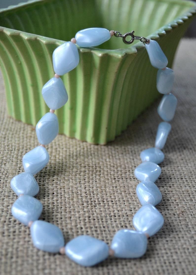 Choker Blue Bead Necklace Bead Choker Lucite Choker Bead Necklace Blue Beaded Choker Vintage Necklace Vintage Choker