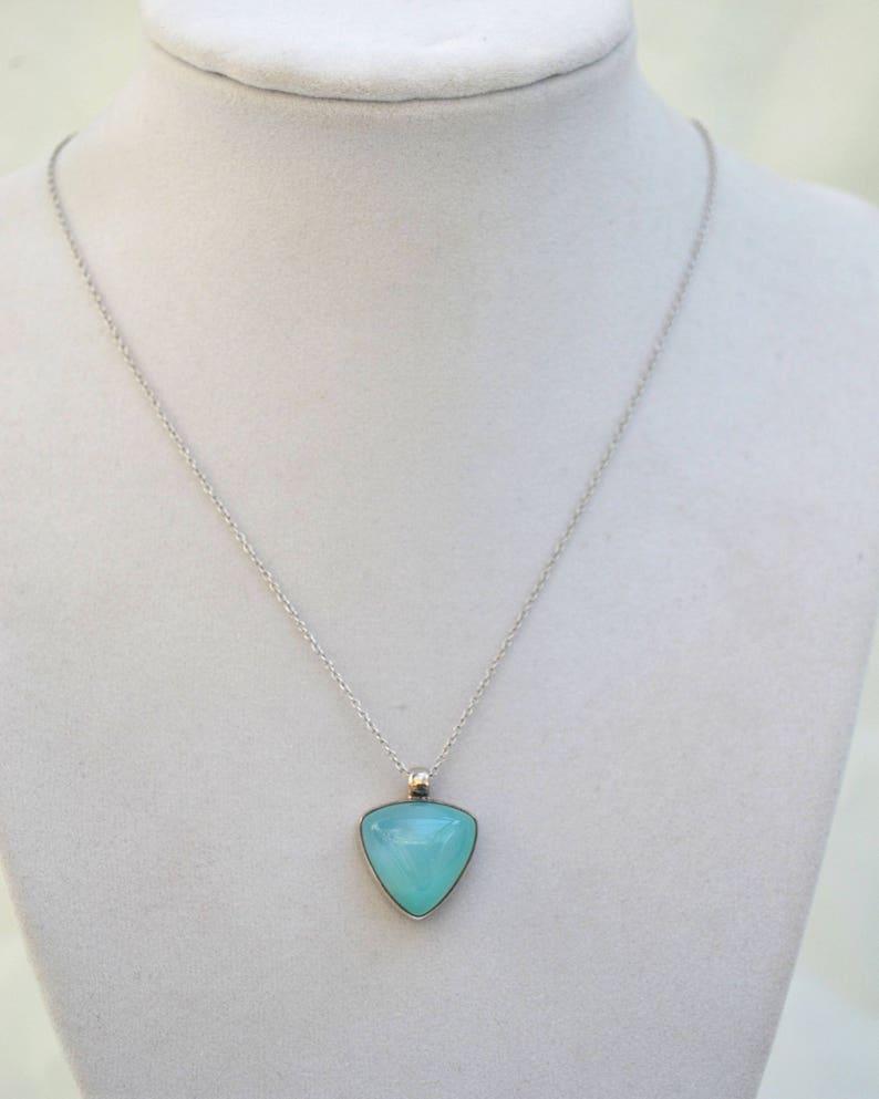 Vintage Pendant Blue Pendant Sterling Silver Pendant Necklace Blue Chalcedony Necklace 1980/'s Necklac