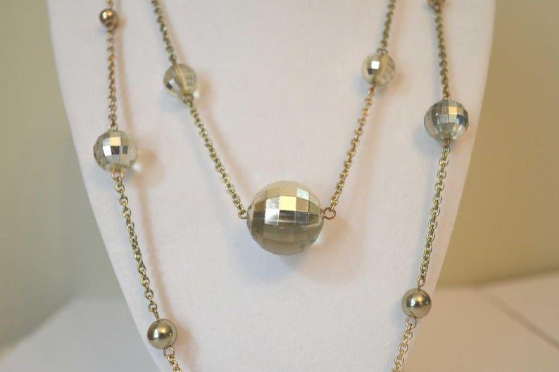 Strand Necklace Vintage Necklace 1970s Necklace Glass Bead Necklace Gold Chain Necklace Long Gold Chain Necklace