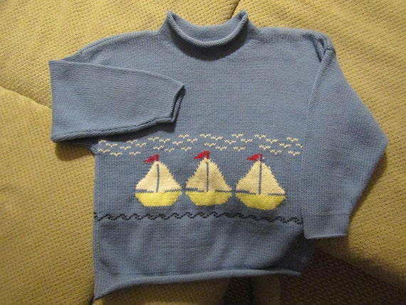 Sierra/'s Attic cotton rollneck stars lobster stripes patriotic child pullover red white and blue