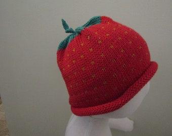 Sierra's Attic cotton knit red  fruit strawberry crochet leaf beanie skull cap hat baby/toddler/child size