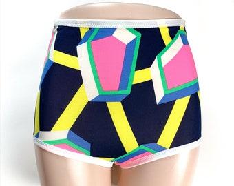 S Neon Geometric Underwear, Handmade Panties, Diy High Waisted Panties, Neon Panties, Womens geometric Underwear, diamond underwear