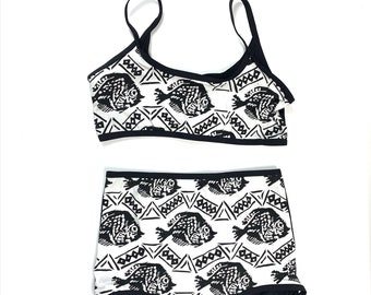 M/L Black White Fish Bralette Pantie SET.  Handmade 80s Fish Bralette. Diy 80s Lingerie. Womens Fish print Lingerie Black white
