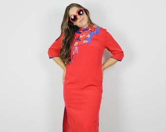 117052378 Vintage Red Midi dress, Asian red dress, Red Asian Costume dress, Vintage  dress, Red Blue Gold Dress, Middy Asian Dress, Chinese dress