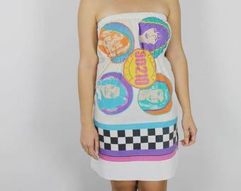 Beverly Hills 90210 Pillow Case Dress. Womens 90210 Dress. Pillow Case upcycle. Vintage 90s Dress. 90s beverly hills pillow case