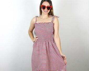XL Vintage Red White Dress. Shirred diy dress. Vintage midi dress. Womens red stripe dress. Red White Stripe dress. Handmade stripe dress.