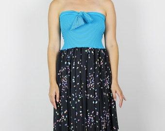 Womens Strapless Dress. Teal Black Dress. Womens BOW dress. Handmade summer dress. Black confetti dress. Teal black stripe dress