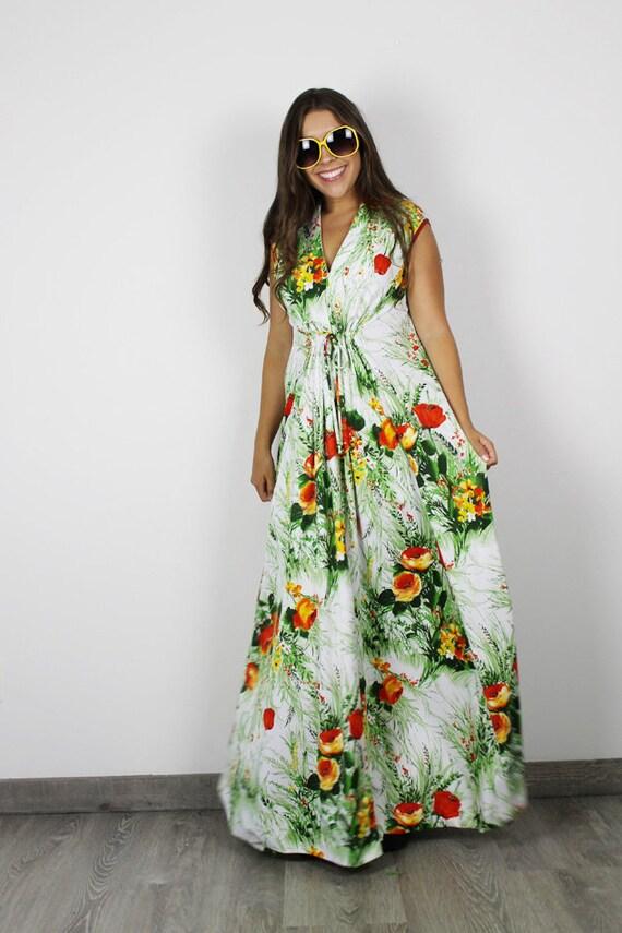 Vintage Maxi Kleid Jahrgang Weiss 70er Jahre Kleid Damen Etsy