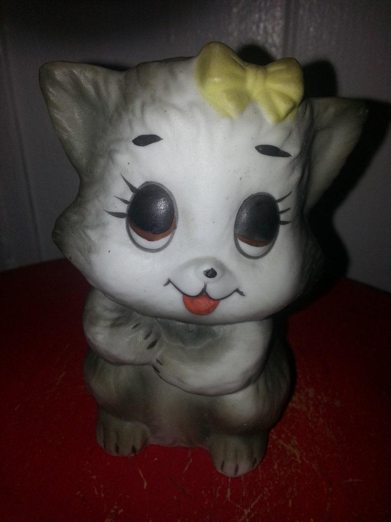 6aff1326bce VINTAGE KITTEN FIGURINE 1960s big eyes cat feline lover