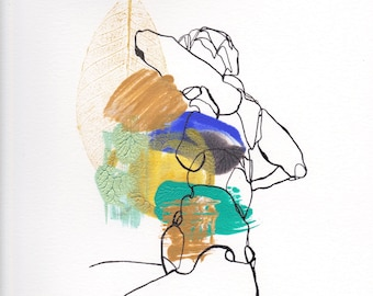 female figure, ink line drawing, Abstract Figure II June 2018