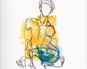 male figure, ink line drawing, Abstract Figure I June 2018