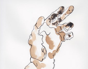 Hand, April 2018, ink line drawing