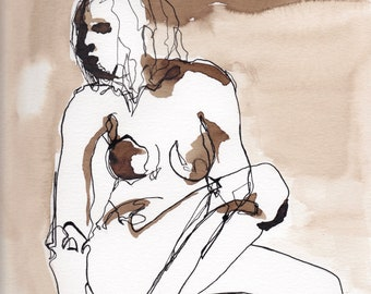 ink line drawing, line figure painting, nude Figure drawing, Abstract Figure XII April 2018