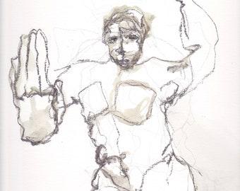 charcoal and watercolr figurative drawing, original, art
