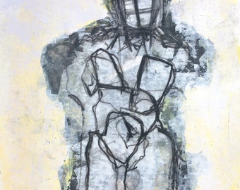 Standing male figure, frontal view, drawing,  68/100 Abstract figures