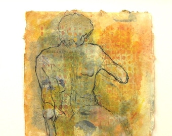 Becoming I, figure, line drawing, charcoal, collage painting