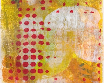 abstract art on paper, decorative wall art, 5 x 7 monoprint