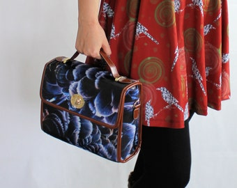 Blue feather print satchel bag with brown edging to fit small laptop or tablet photo print bag feather pattern purse swan