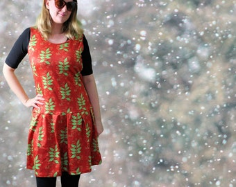 Botanic drop waist dress red sleeveless with green ash leaves pattern on red, alternative fashion unique unusual pagan leaf tree