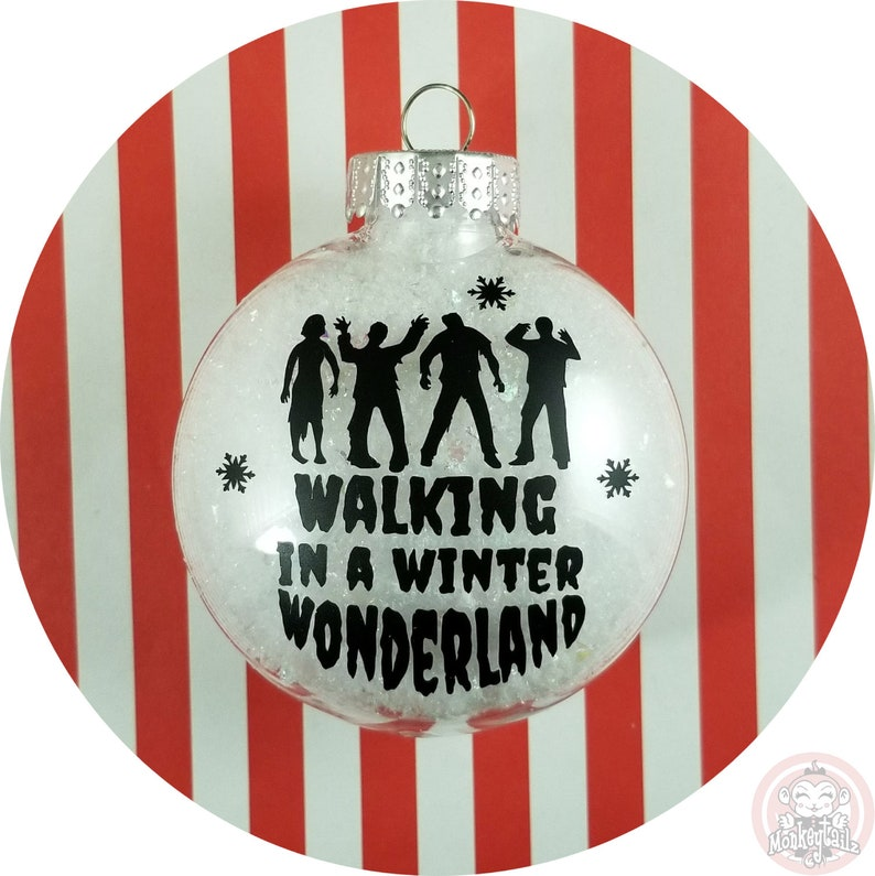 Walking Dead Christmas Ornament ~~ Zombies Walking in a Winter Wonderland