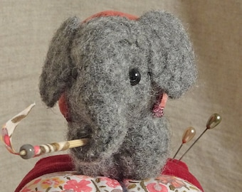 Baby Elephant Pincushion from felted sweaters