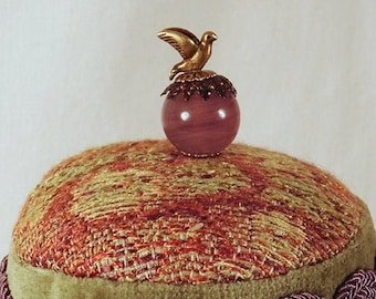 Woodland Critters Pincushion- Golden Dove Fancy Pin on a Vintage style Tuffet