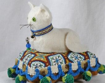 Retro Felted Wool Kitty Pincushion in Cream with Vintage Medallion Print and Ball Fringe Trim