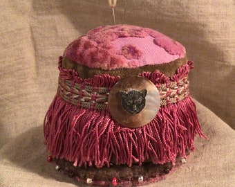 Rose Cut Velvet Pincushion in the Victorian Style