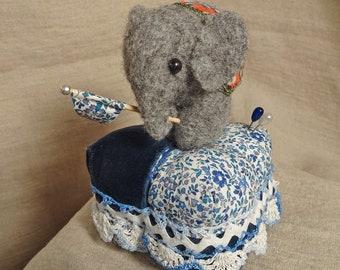 Little Victorian Elephant Pincushion with Paisley Velveteen Blanket