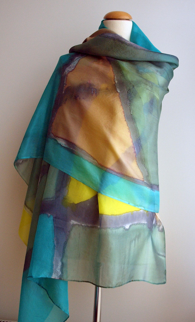 Hand Painted Silk Scarf-Abstract Silk Scarf-Colorful silk-Ready to be shipped-78x36in-200x90cm-Unique gift for women-girlfriend-mom