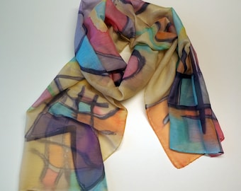 Hand Painted Cotton-Silk Scarf/Abstract Silk-Cotton Scarf/Colorful silk/ Ready to be shipped/71x18in-180x45cm/Unique gift for-girlfriend-mom