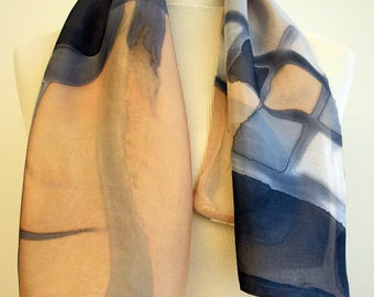 Hand Painted Silk Scarf.Woman Silk Scarf. Double-layer hand painted silk scarf.Wedding Gift.Giveaways.Ideas for her. 35x12.6 in (89x32 cm)