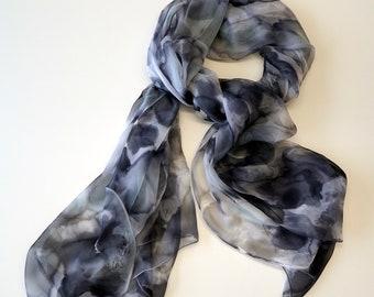 Hand painted silk chiffon scarf. Handpainted silk shawl.Wedding gift. Ooak chiffon -71x36Inches (180x90cm)
