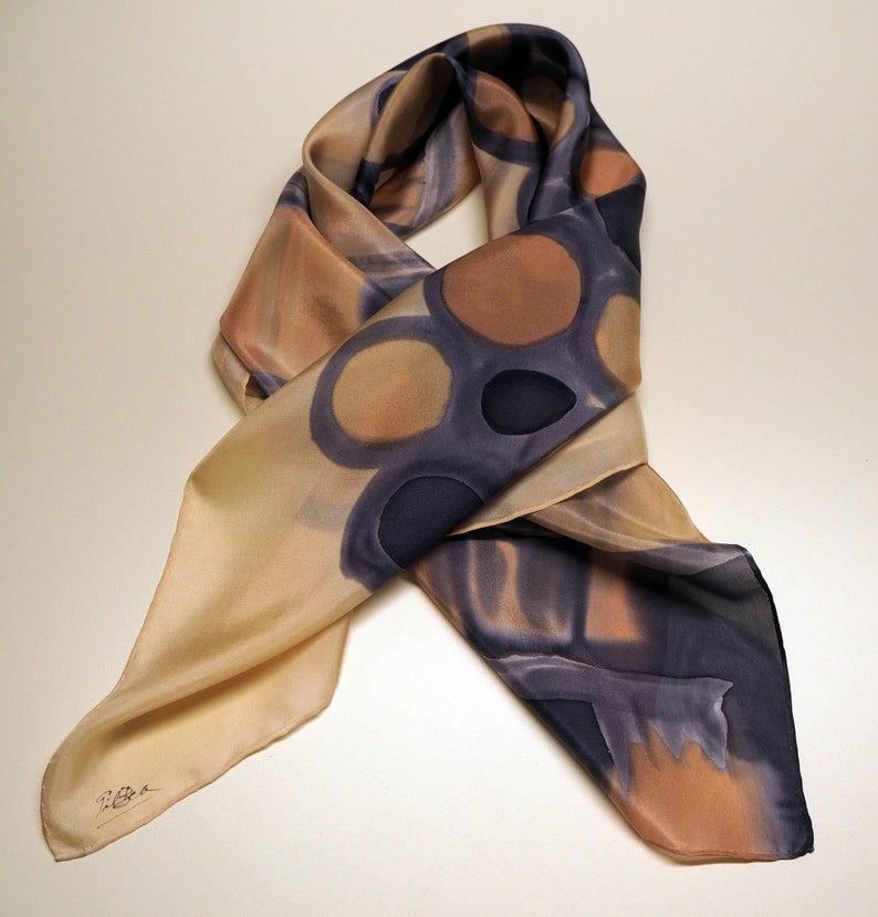 Hand Painted Silk Scarf-Abstract Silk Scarf-Gifts for her-Giveaways-Ready to be shipped-36x36in-90x90cm-Unique gift for women-girlfriend-mom