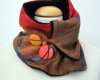 Hand painted Silk & Wool Neck Warmer / 72x18 cm / 28x7 in/ Giveaways /Ready to be shipped/Unique gift for women/girlfriend mom/men